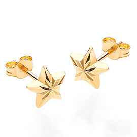 9K Yellow Gold Diamond Cut Star Stud Earrings (with Push Back)