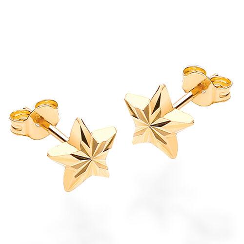 9K Yellow Gold Diamond Cut Star Stud Earrings (with Push Back)