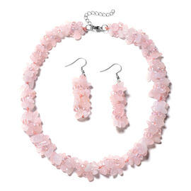 Rose Quartz and Pink Colour Beaded Necklace and Hook Earrings 18 with 1.5 inch Extender