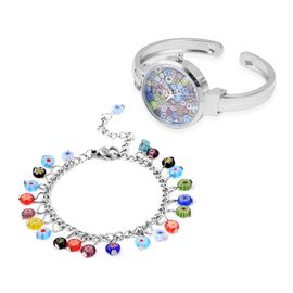 2 Piece Set - Multi Murano Style Glass Bangle Watch and Multi Charm Bracelet  (Size 7 with 2 inch Ex