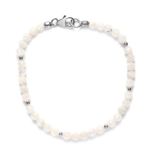 Rainbow Moonstone Beaded Bracelet (Size 7.5) in Sterling Silver 19.15 Ct.