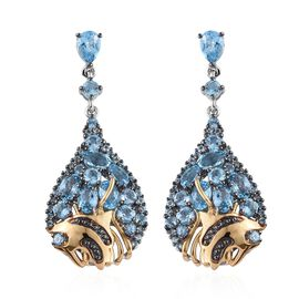 GP Swiss Blue Topaz (Ovl and Rnd), Blue Sapphire Earrings (with Push Back) in Platinum and Yellow Go