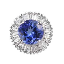 Rhapsody 1.25 Ct AAAA Tanzanite and Diamond Halo Pendant in 950 Platinum