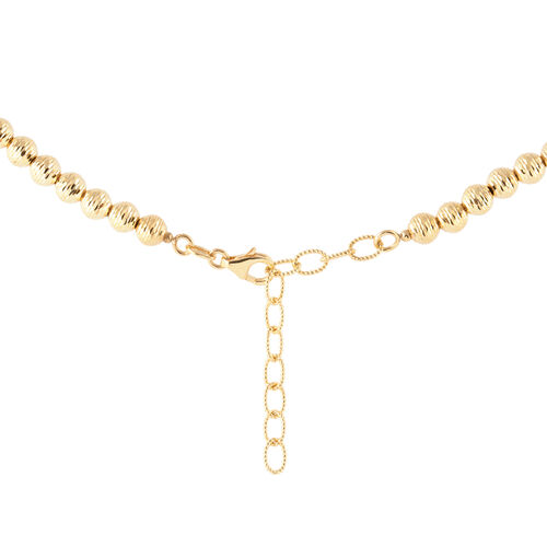 9K Yellow Gold Diamond Cut Beads Necklace (Size 18 with 2 Inch Extender), Gold wt 9.4 Gms.