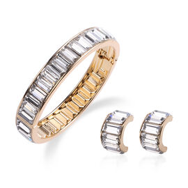 2 Piece Set - Simulated Diamond Eternity Bangle (Size 7.5) and Earrings (with Push Back) in Gold Ton