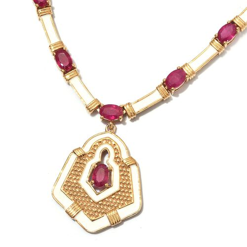 Limited Edition- African Ruby Enamelled Necklace (Size 18) in 14K Gold Overlay Sterling Silver 16.25