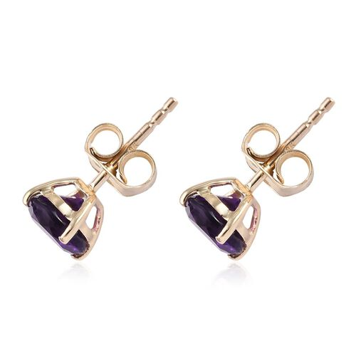 9K Yellow Gold AA Amethyst Stud Earrings (with Push Back) 1.50 Ct.