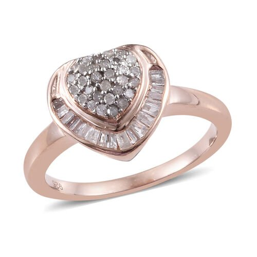 0.33 Ct Diamond Heart Cluster Ring in Rose Gold Plated Silver 2.89 Grams