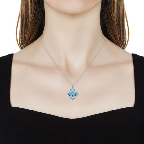 Arizona Sleeping Beauty Turquoise (Rnd), Natural White Cambodian Zircon Floral Pendant With Chain (Size 18) in Rhodium Plated Sterling Silver 2.920 Ct.