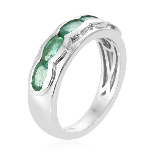 AA Kagem Zambian Emerald (Ovl) Ring in Platinum Overlay Sterling Silver 1.000 Ct.