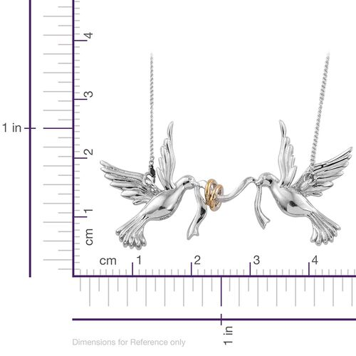 Platinum and Yellow Gold Overlay Sterling Silver Birds Necklace (Size 18), Silver wt 5.65 Gms.