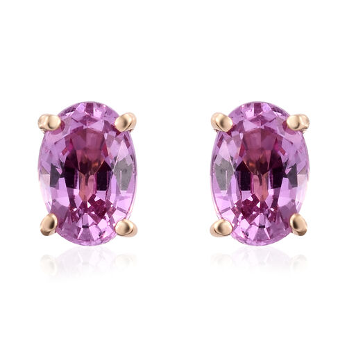 ILIANA 18 Yellow Gold AAA Pink Sapphire (Ovl) Stud Earrings (with Screw Back) 1.100 Ct