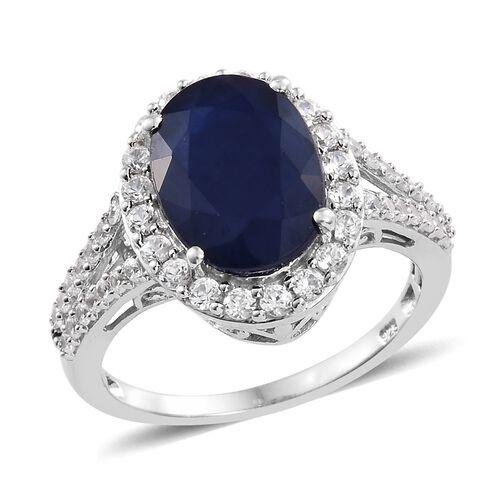 Kanchanaburi Blue Sapphire (Ovl 7.50 Ct), Natural Cambodian Zircon Ring in Platinum Overlay Sterling