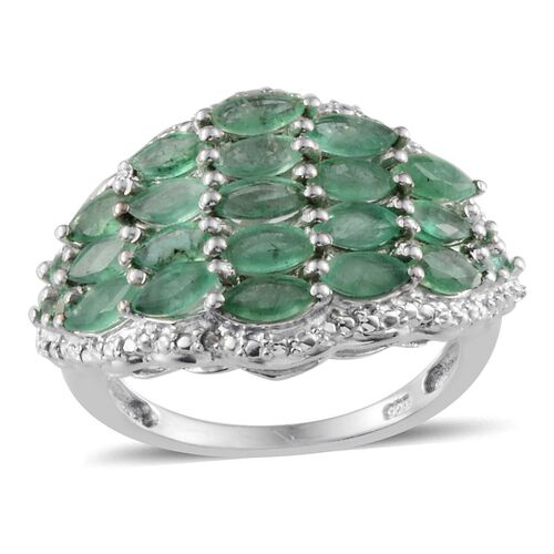 Kagem Zambian Emerald (Mrq) Cluster Ring in Platinum Overlay Sterling Silver 3.250 Ct.