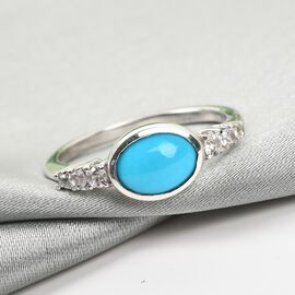 Arizona Sleeping Beauty Turquoise and Natural Cambodian Zircon Ring in Platinum Overlay Sterling Silver 1.45 Ct.