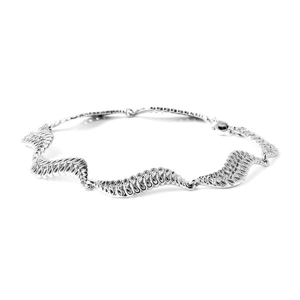 LucyQ Wave Bracelet (Size 8) in Rhodium Overlay Sterling Silver