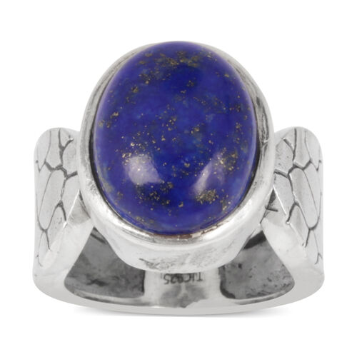 Lapis Lazuli (Ovl) Solitaire Ring in Sterling Silver 9.500 Ct. Silver wt 7.37 Gms.