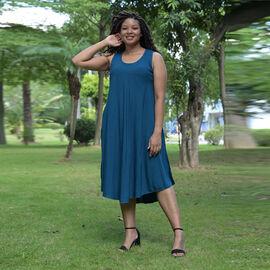 TAMSY 100% Viscose Womens Print Dress (Size:60x105Cm) - Blue