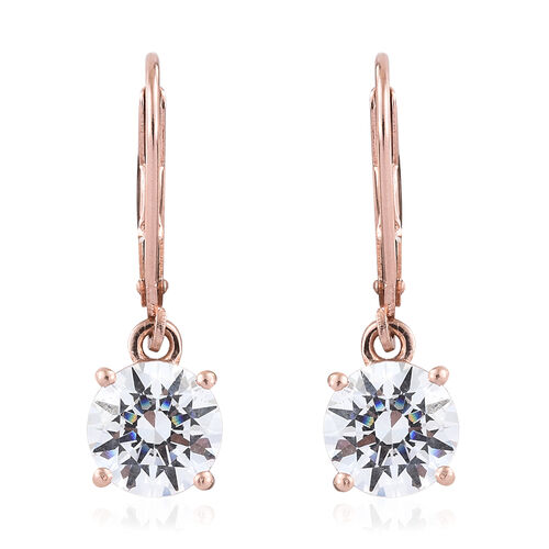 J Francis Rose Gold Overlay Sterling Silver (Rnd7.5mm) Lever Back Earrings Made with SWAROVSKI ZIRCONIA