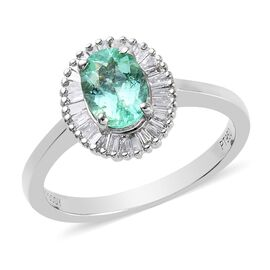 RHAPSODY 1 Carat AAAA Mozambique Paraiba Tourmaline and Diamond Halo Ring in Platinum VS EF