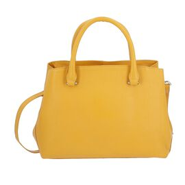100% Genuine Leather Shoulder Bag with Detachable Strap (Size 34.5x10.5x25 Cm) - Mustard