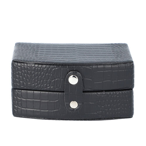 Black Croc Embossed Pattern Jewellery Box with Button Clasp Lock (12x9x6.1cm)