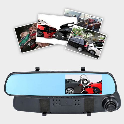 Rear View Mirror with Front and Back Camera (Functions incld. G-Sensor, Motion Detection and Cyclic Recording)