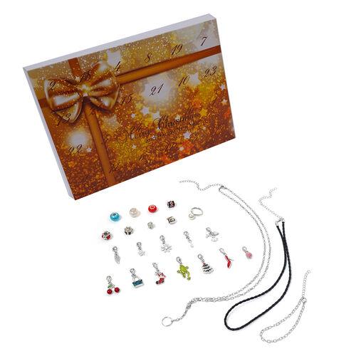 TJC Advent Calendar- 24 Piece Set of Necklace (Size 21.5), Bracelet,  Adjustable Rings, Pendants wit