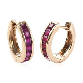 1.85 Ct AAA Burmese Ruby Hoop Earrings in 9K Gold 3.34 Grams