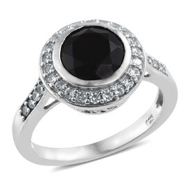 Black Tourmaline (Rnd 2.75 Ct), Natural Cambodian Zircon Ring in Platinum Overlay Sterling Silver 3.250 Ct.