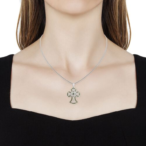 Green Diamond (Rnd) Cross Pendant with Chain (Size 18)  in Platinum and Green Overlay Sterling Silver 0.330 Ct.