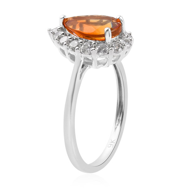 9K White Gold Madeira Citrine and Natural Cambodian Zircon Ring 1.75 Ct.