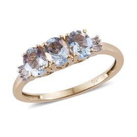 9K Yellow Gold AA Espirito Santo Aquamarine (Ovl), Diamond Ring 1.00  Ct.