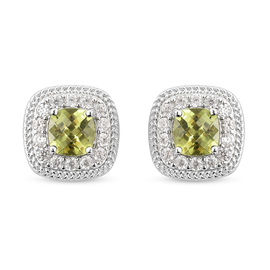 Natural Hebei Peridot and Natural Cambodian Zircon Stud Earrings (with Push Back) in Rhodium Overlay