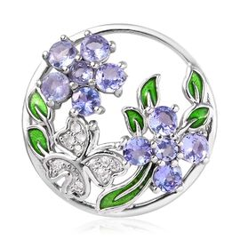 Tanzanite (Rnd), Natural Cambodian White Zircon Enamelled Butterfly Floral Pendant in Platinum Overl