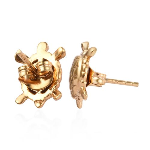 14K Yellow Gold Overlay Sterling Silver Turtle Stud Earrings (with Push Back)