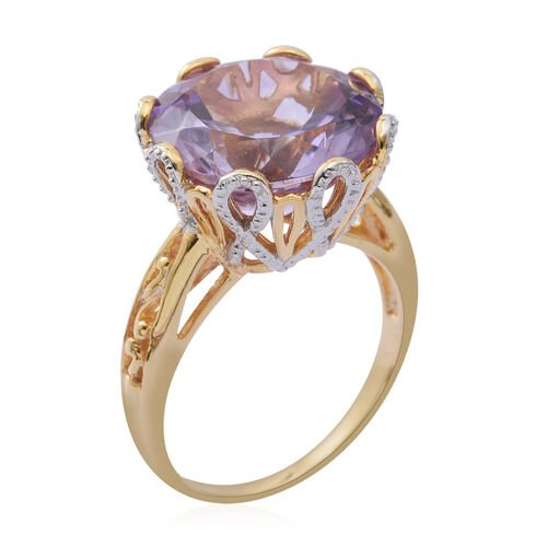 Rose De France Amethyst (Rnd) Ring in Rhodium and Yellow Gold Overlay Sterling Silver 10.500 Ct.