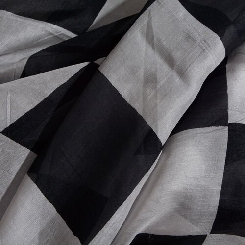 100% Mulberry Silk Chess Board Printed Black and White Colour Pareo (Size 180x100 Cm)