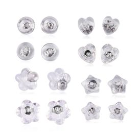 Set of 8 Pairs Rhodium Overlay Sterling Silver Push Backs - Heart, Flower, Star and Round Shape Back