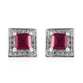 African Ruby (Sqr), Natural Cambodian Zircon Stud Earrings (with Push Back) in Platinum Overlay Ster