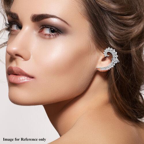 White Austrian Crystal Earrings in Silver Tone