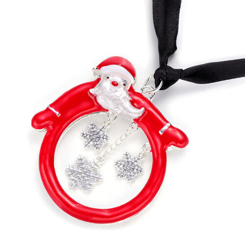 RACHEL GALLEY - Santa Claus and Snowflake Enamelled Charm in Silver Tone