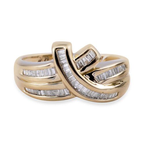 14K Yellow Gold (I2/G-H) Diamond (Bgt) Ring 0.500 Ct, Gold wt 5.20 Gms.