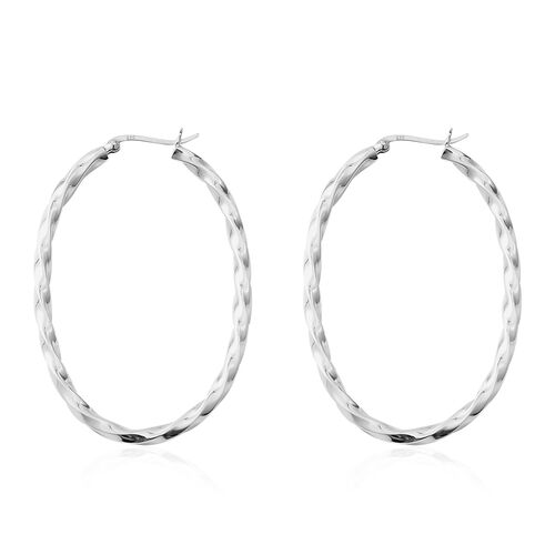 Rhodium Overlay Sterling Silver Hoop Earrings (With Clasp), Silver wt 9.50 Gms.