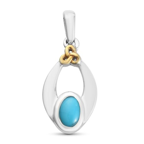Arizona Sleeping Beauty Turquoise Pendant in Platinum and Yellow Gold Overlay Sterling Silver 0.50 Ct.