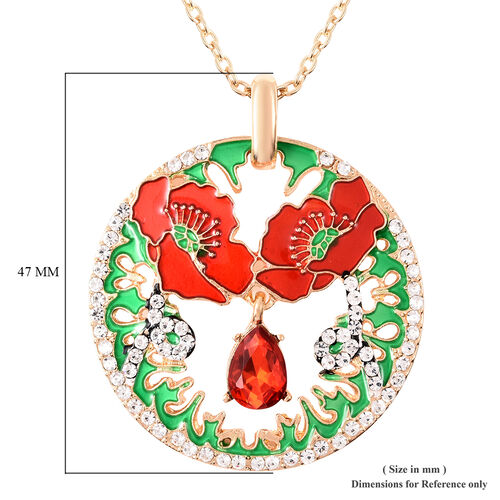 TJC Poppy Design - Simulated Ruby and White Austrian Crystal Enamelled Poppy Pendant With Chain (Size 25 with Extension) in Yellow Gold Tone