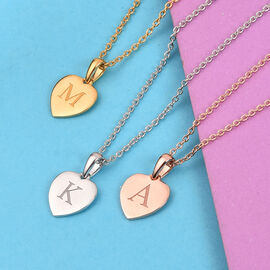 Personalise Engraved Initial Heart Pendant with Chain