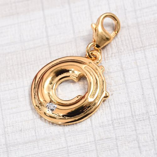 Diamond (Rnd) Initial O Charm in 14K Gold Overlay Sterling Silver