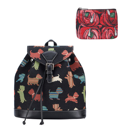 Signare Tapestry - 2 Piece Set - Puppy Design Backpack and FREE Mackintosh Simple Rose Zip Coin Purs