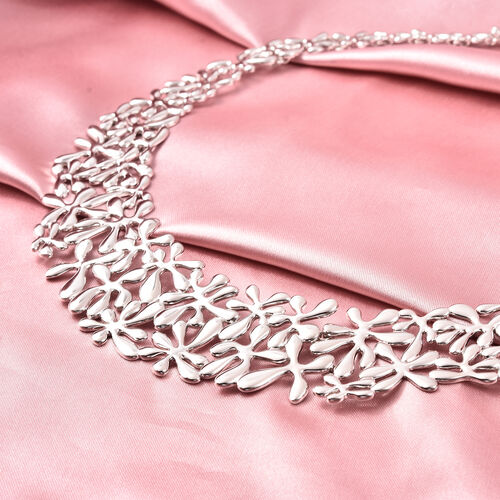 LucyQ Splash Necklace  in Rhodium Overlay Sterling Silver, Silver wt 76.48 Gms (Size 20)